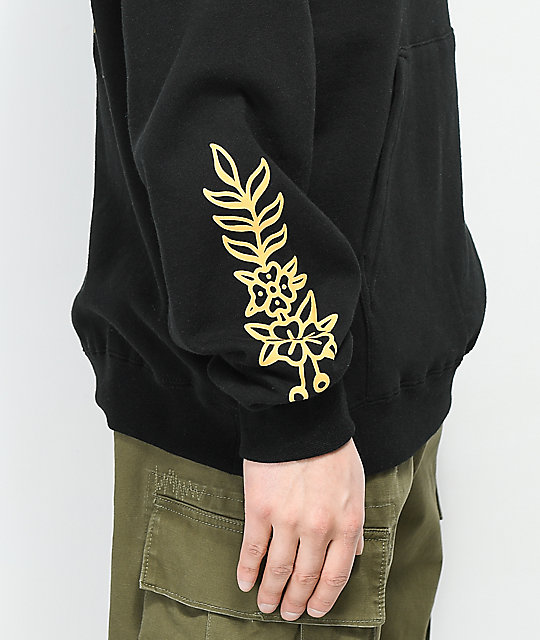 Swallows & Daggers Filigree Rose Black Hoodie