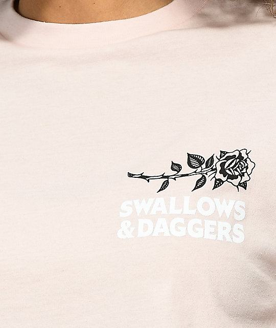 Swallows & Daggers Hand Roses Light Pink Crop T-Shirt