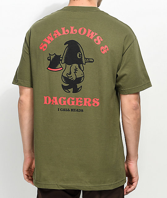 Swallows & Daggers I Call Heads Military Green T-Shirt