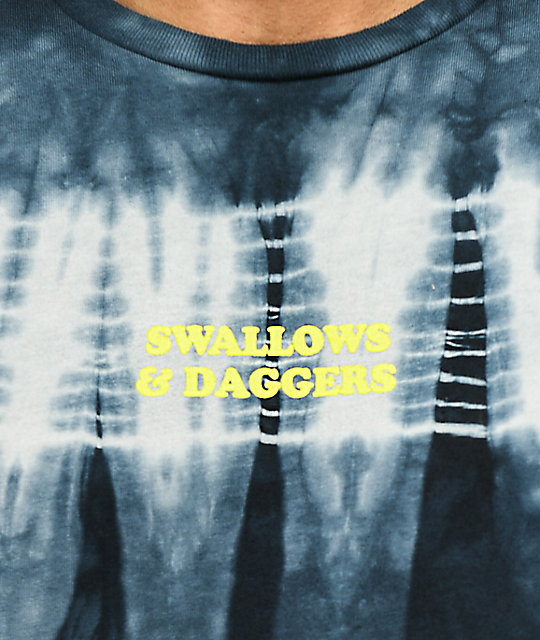 Swallows & Daggers No Time For You Black Long Sleeve Tie Dye T-Shirt