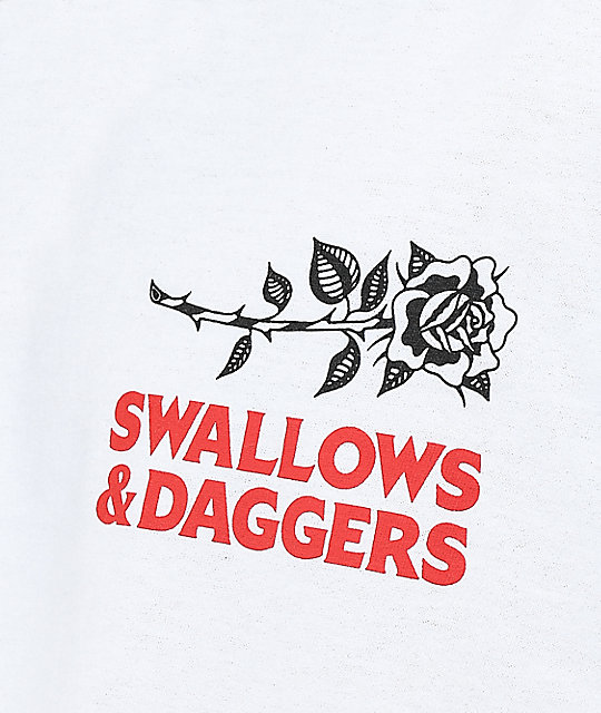 Swallows & Daggers Rose Hand White Long Sleeve T-Shirt