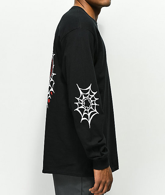 Swallows & Daggers Skull Web Black Long Sleeve T-Shirt