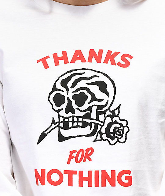 Swallows & Daggers Thanks For Nothing White Crop Long Sleeve T-Shirt