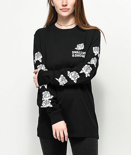 Swallows & Daggers  Hand Picked Roses Black Long Sleeve T-Shirt
