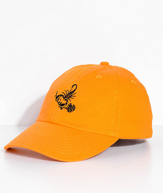 2a34650202677 Swallows   Daggers Scorpion Rose Orange Dad Hat