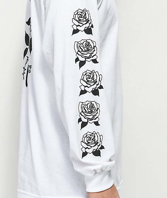 Swallows & Daggers Thorn Rose White Long Sleeve T-Shirt