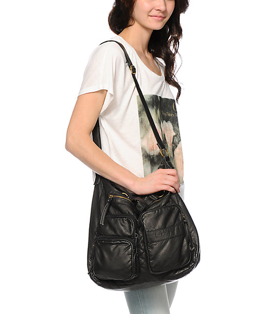 T-Shirt & Jeans Black Faux Leather Two Pocket Tote Bag