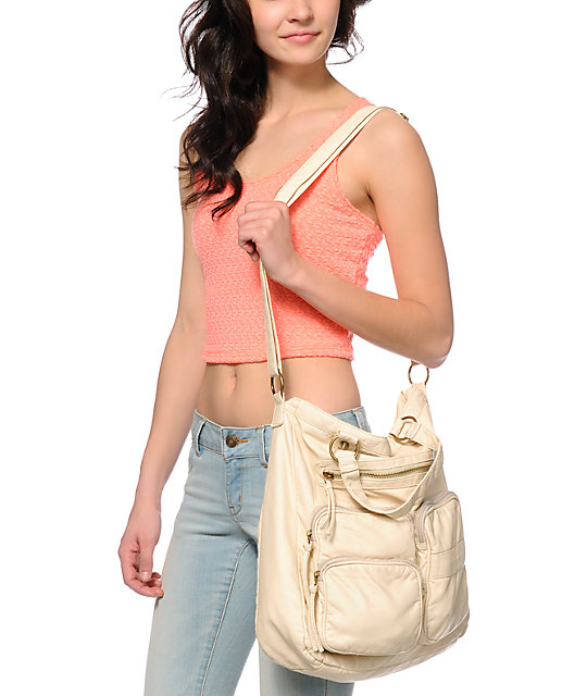T-Shirt & Jeans Bone Faux Leather Two Pocket Tote Bag