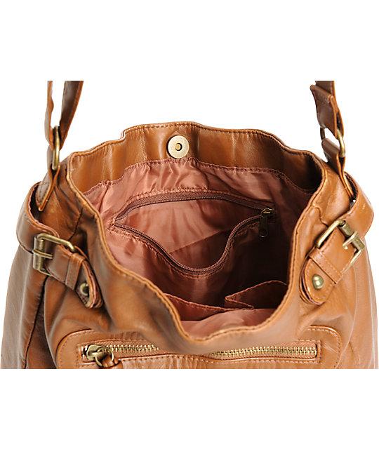 34d262db207a ... T-Shirt   Jeans Cognac Faux Leather Crossbody Tote Bag