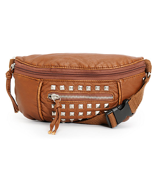 T-Shirt & Jeans Dark Brown Studded Faux Leather Fanny Pack