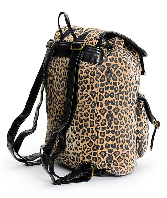 T-Shirt & Jeans Leopard Print Studded Rucksack Backpack