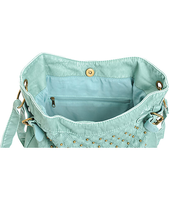 T-Shirt & Jeans Mint Studded Faux Leather Tote Bag