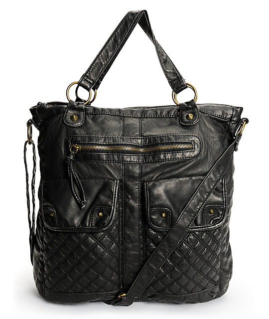 99292d89ae T-Shirt   Jeans Quilted Pocket Black Faux Leather Tote Bag