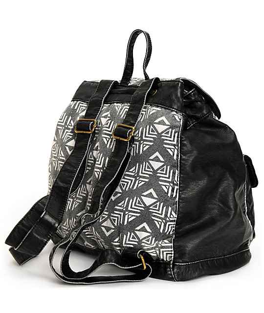 T-Shirt & Jeans Tribal Print Black Backpack
