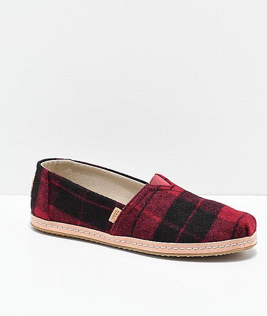 TOMS Classic Alpargata Red Plaid Shoes  d078fb814c74