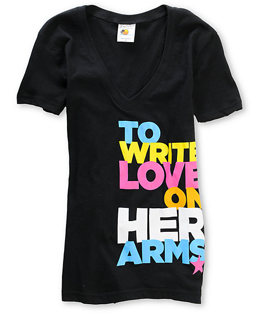 TWLOHA Colors Black V-Neck T-Shirt
