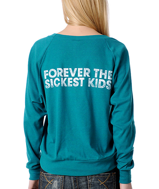 TWLOHA Forever the Sickest Kids Teal Raglan Top