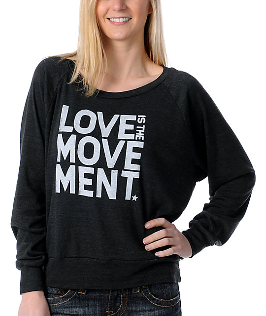TWLOHA Love Movement Charcoal Raglan Top