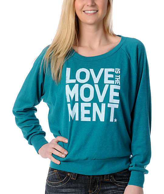 TWLOHA Love Movement Teal Raglan Top