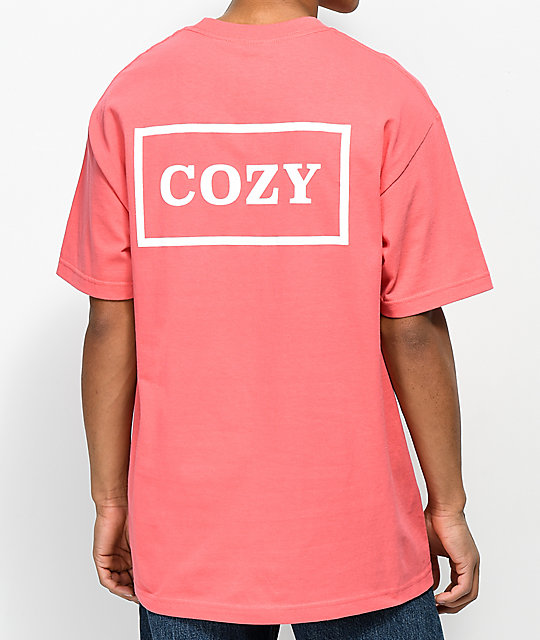 Team Cozy Cozier Box camiseta en coral y blanco