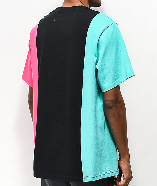 Teddy Fresh 3 Panel Black, Teal & Pink Knit T-Shirt
