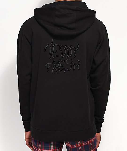 Teddy Fresh Color Embroidered Black Hoodie