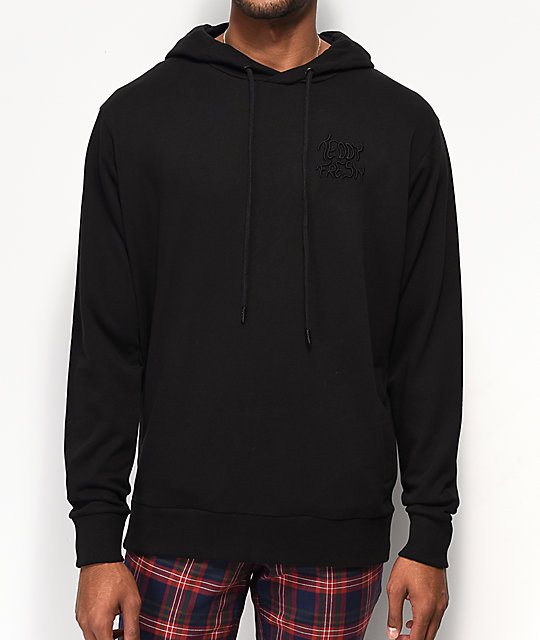 Teddy Fresh Color sudadera con capucha negra bordada