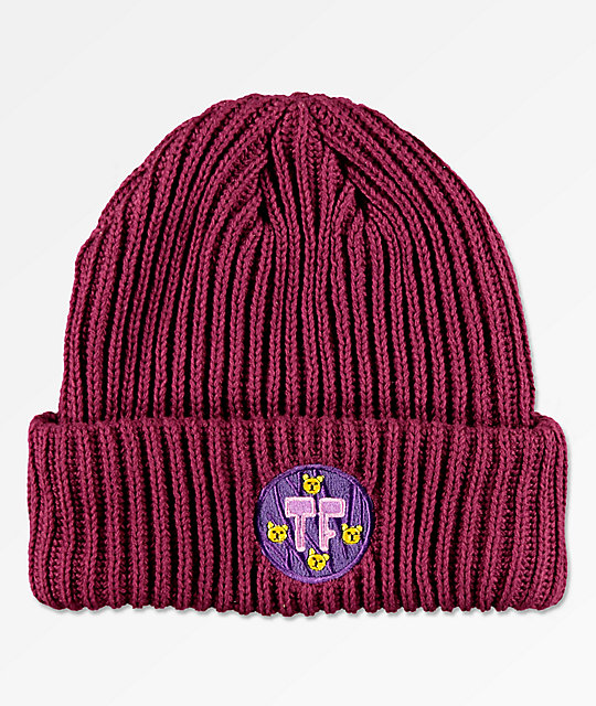 Teddy Fresh Double Layered Burgundy Beanie