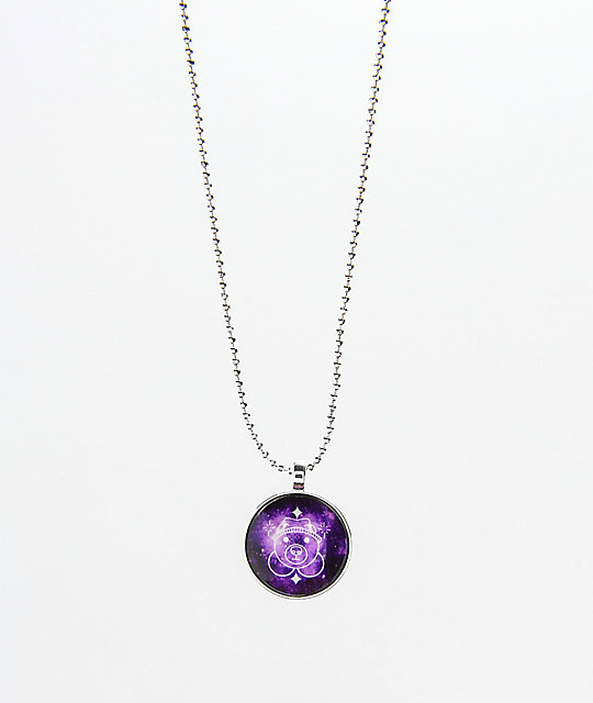 Teddy Fresh Purple Dome Glow In The Dark Necklace