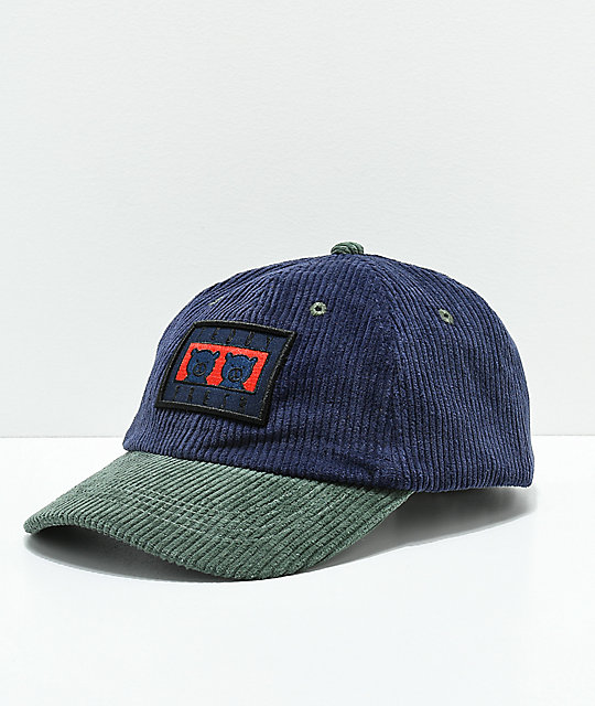Teddy Fresh Two Teds Blue   Green Corduroy Strapback Hat  f7df74fdb3c5