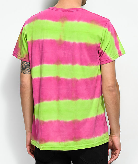Teenage 3 Faces Green & Pink Tie Dye T-Shirt