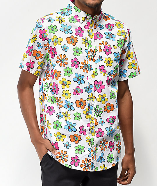 Teenage Flowers White Short Sleeve Button Up Shirt