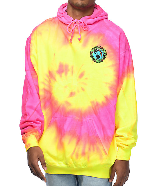 a96bed324c45 Teenage Madness Pink   Yellow Tie Dye Hoodie