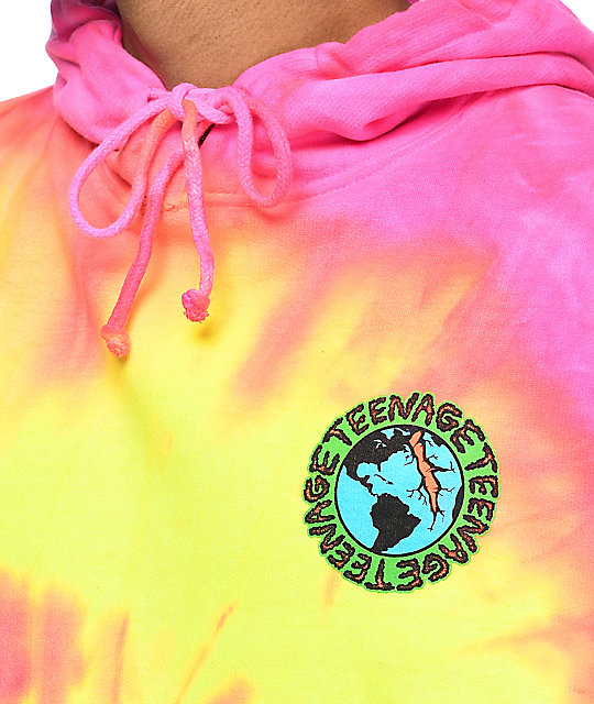Teenage Madness Pink & Yellow Tie Dye Hoodie
