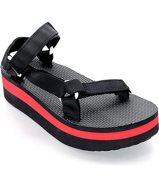 07022fb45ad Teva Flatform Universal Black   Red Sandal