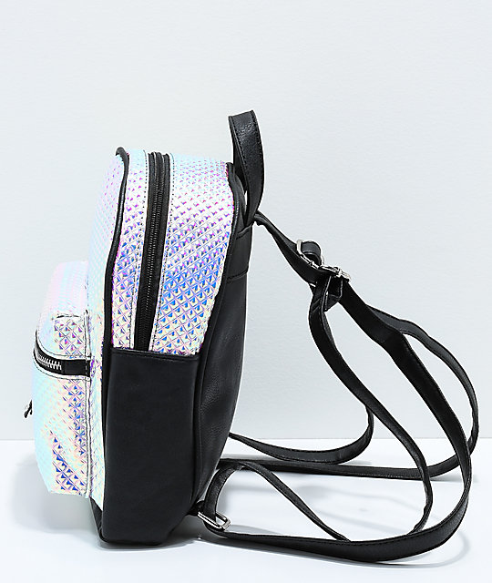 Textured Holographic Mini Backpack
