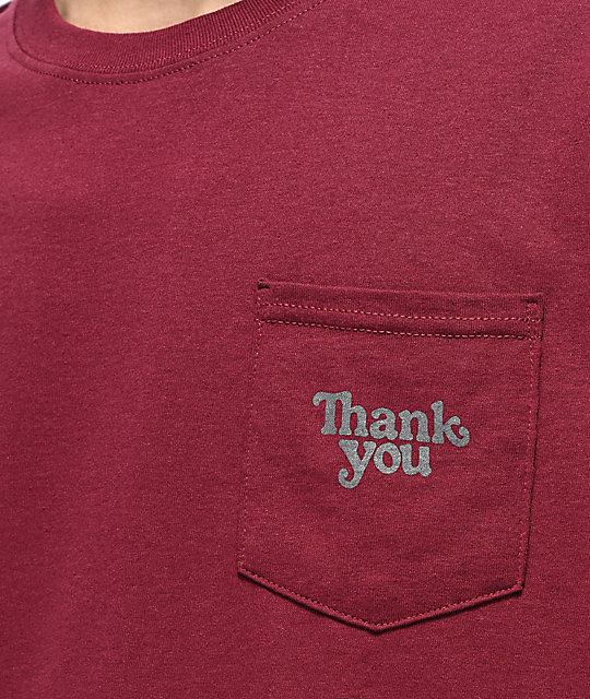 Thank You Burgundy Pocket T-Shirt