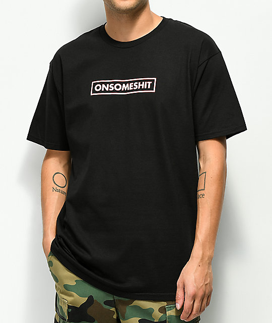 The Come Up OSS Red & White Box Logo Black T-Shirt