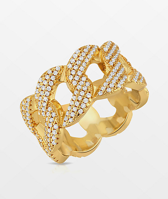 The Gold Gods 10mm Yellow Gold Cuban Curve Ring