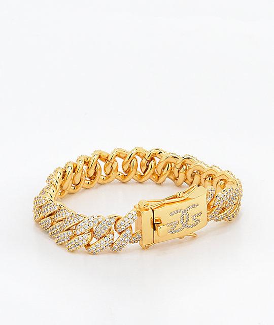 The Gold S 12mm Flooded Diamond Cuban Link Bracelet