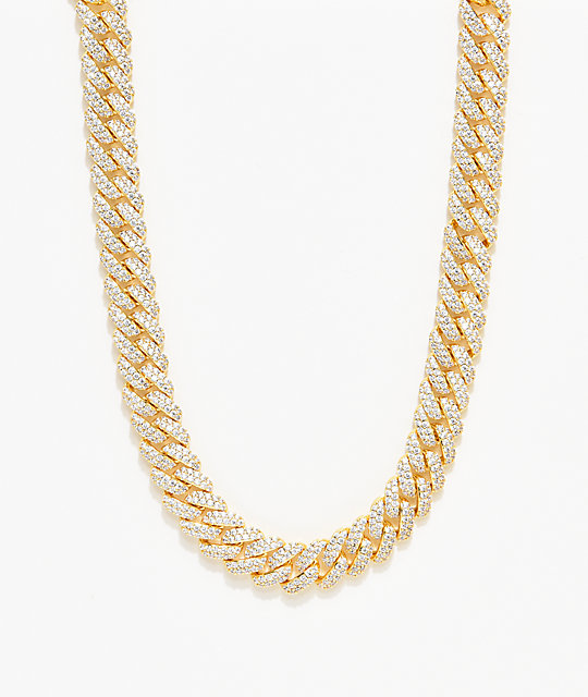 The Gold Gods 12mm Flooded Diamond collar de cadena cubana de  18