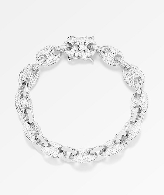 The Gold S 8mm Diamond Gucci Link White Bracelet