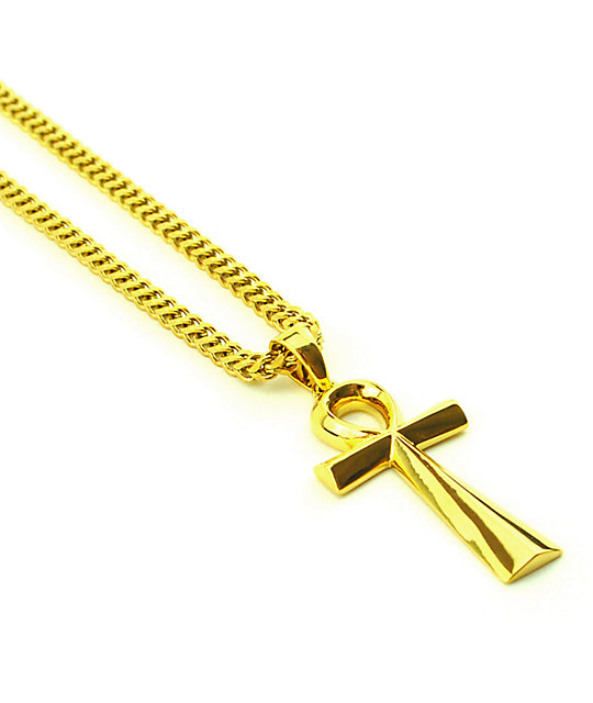 "The Gold Gods Ankh Cross Pendant 28""  Necklace"