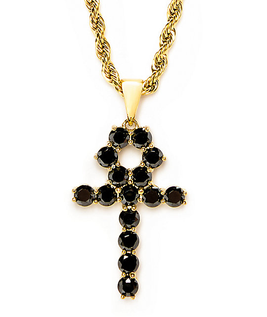 The gold gods black onyx ankh cross pendant 22 necklace zumiez the gold gods black onyx ankh cross pendant 22 necklace aloadofball Images