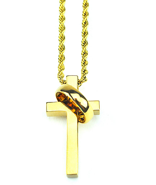 "The Gold Gods Cross & Ring 28""  Necklace"