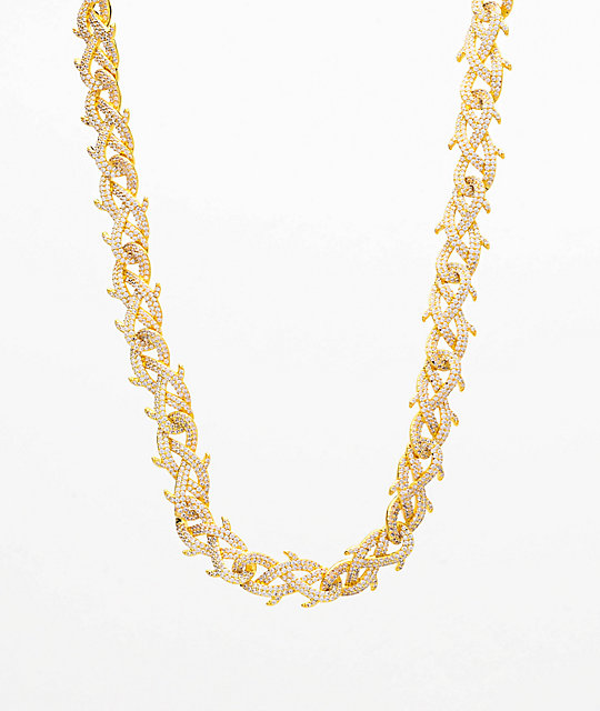 The Gold Gods Crown Of Thorns Diamond 18 Gold Chain Necklace Zumiez