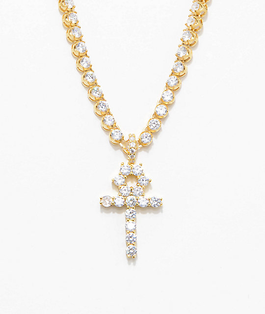 gold women white cuban i chain s necklace inch