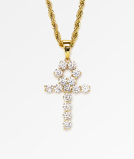 The Gold Gods Diamond Ankh Cross Pendant 22 Quot Necklace Zumiez