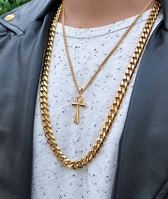 The Gold Gods Flat Edge 30 Cuban Link Necklace Zumiez
