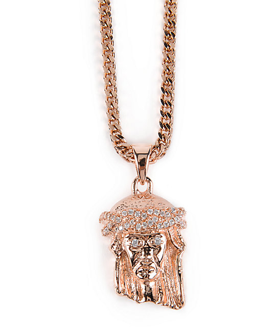 The Gold Gods Jesus Rose Gold Necklace Zumiez